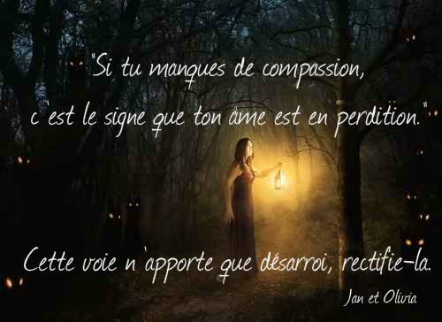 Si tu manques de compassion, c'est le signe que ton âme est en perdition cette voie n'apporte que désarroi rectifie-la jan et olivia medium spirit