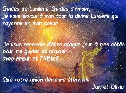 prière ange gardien, guide de lumière jan olivia citation